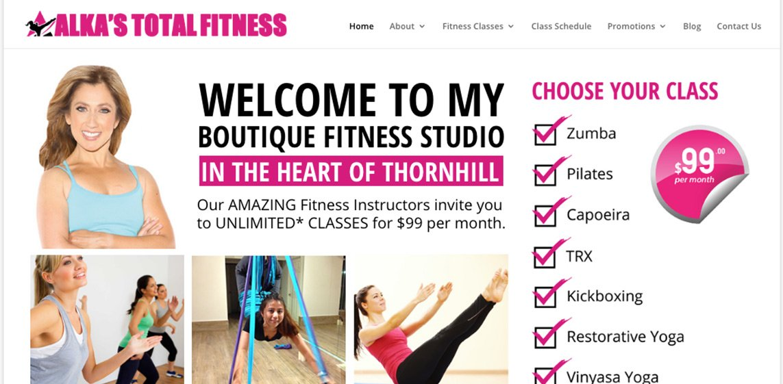 Alka's Total Fitness Mobile Responsive Website